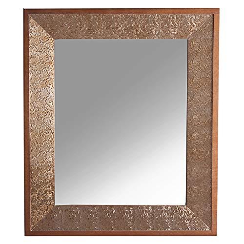 Vipalia spiegel tafel kast dressoir dennenhout en aluminium slaapkamer, hal, eetkamer klassieke stijl. Collectie goud I. Kleur: bruin en goud. Espejo