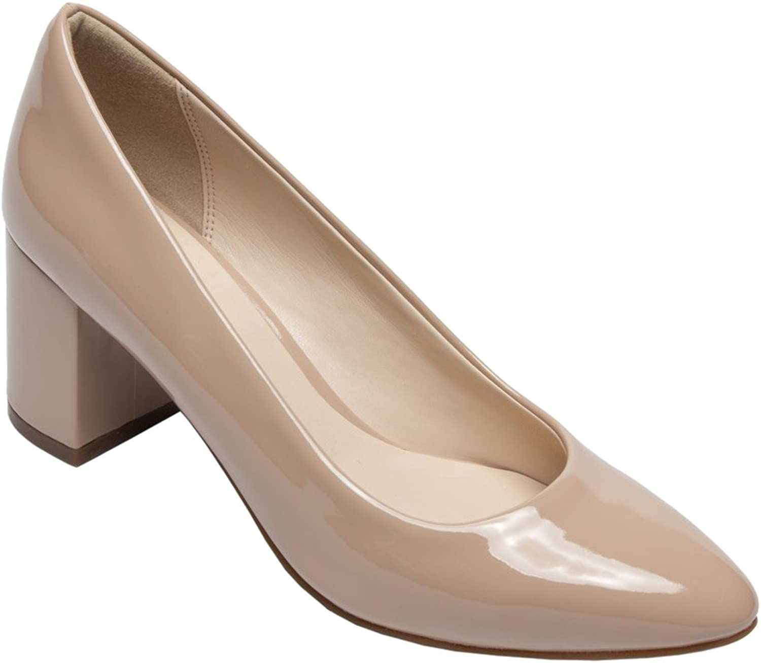PIC PAY Fairy - Women's Contemporary Patent Pumps - Almond Toe Leather Comfortable Block High Heel shoes