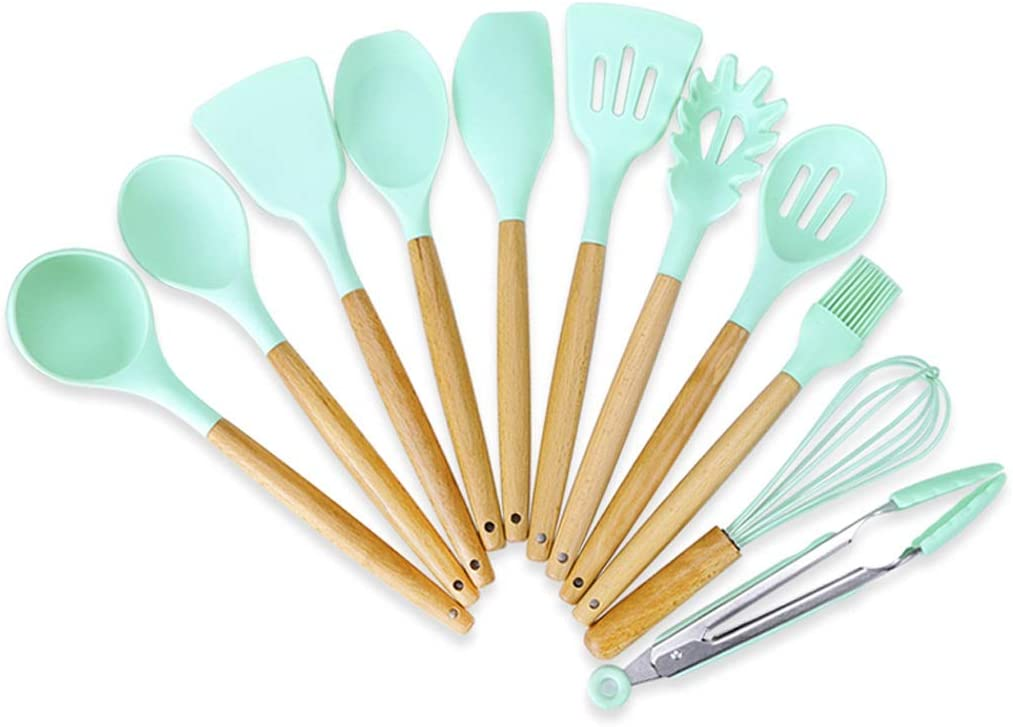 SHUUY Inventory cleanup selling sale Under blast sales 11PCS Wooden Handle Silica Pan Kitchenware Gel S Non-Stick