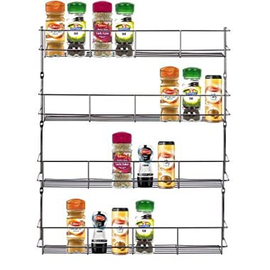 VonShef 4 Tier Easy Fix Spice Rack Organizer Chrome Plated For Herbs and Spices Suitable for Wall Mount or Inside Cupboard, 19.6 x 16.1 Inches