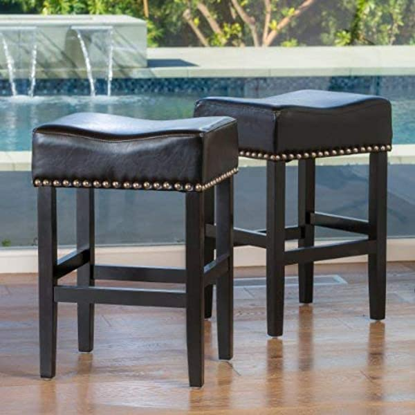 Christopher Knight Home 238549 Chantal Backless Leather Counter Stools WChrome Nailheads Black