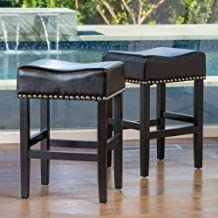 Christopher Knight Home Chantal Backless Leather Counter Stools wChrome Nailheads, Black