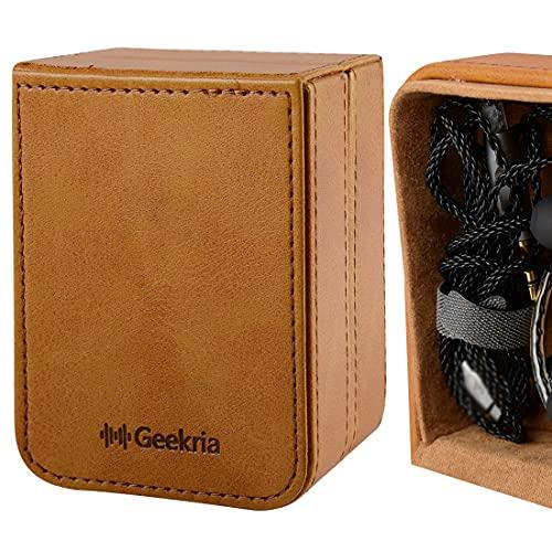 Geekria Funda de auriculares estéreo de alta fidelidad ultrarrápida, caja de viaje con lentejuelas elásticas/bolsa de almacenamiento para auriculares duros (marrón)