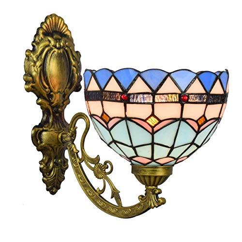 BJLWTQ Lámpara de Pared Decoración británica del Vidrio Manchado Espejo Retro Faros Jardín de Noche la lámpara de Pared del Pasillo mediterránea de una Sola Cabeza de Cristal lámpara de Pared