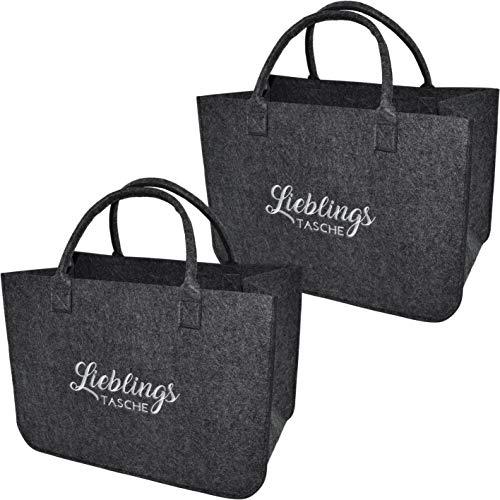 XL Filztaschenset Einkaufstasche · Henkeltasche aus Filz · Shopping Bag Lieblingstasche · Einkaufskorb mit Henkel · Shopper (2er Set Dunkelgrau)