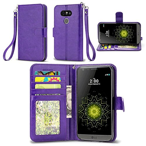 LG G5 Case, IZENGATE [Slim Series] Wallet Cover Synthetic Leather Flip Folio with Stand (Purple)