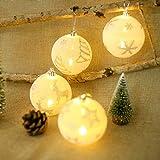 JUSTDOLIFE 4 Stücke Weihnachtskugel Mode Led Leuchten Glitter Hängen Ornament Weihnachtsbaum Kugel