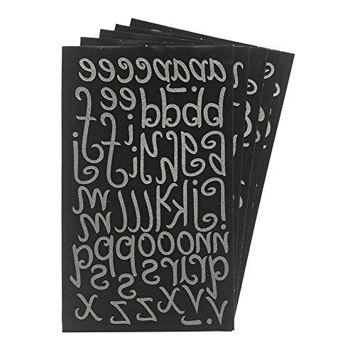 Magfok Iron-on 1.5 Inch Letters Black Flock Uppercase & Lowercase Transfer, 5 Sheet (Black)