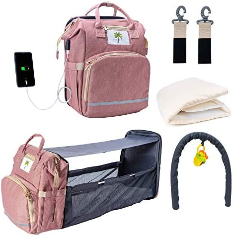 5 in 1 Upgraded Travel Bassinet Foldable Baby Bed Portable Diaper Backpack Bag with Changing product image