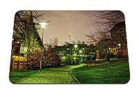 22cmx18cm マウスパッド (通路の木の風景夜の街) パターンカスタムの マウスパッド
