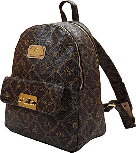 Giulia Pieralli Damen Mädchen Designer Kleiner Modischer Rucksack Citytasche Bag Wander Schultertasche Student Daypack (Braun)