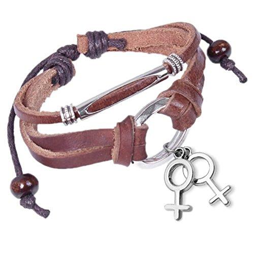 Hanging Charm Female Symbol Lesbian Pride Bracelet Wristband / Wristlet for Lesbians.