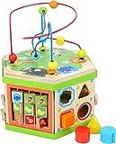 small foot 4020972042446 4244 Motorikwürfel Safari, Baby-Kinderspielzeug aus Holz