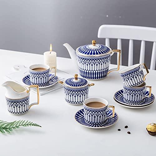FHISD Juego de té de Porcelana, Tazas y platillo de café Azul, Juego de café de cerámica con Tetera, azucarero, cucharaditas de Jarra de Crema, 11 Piezas