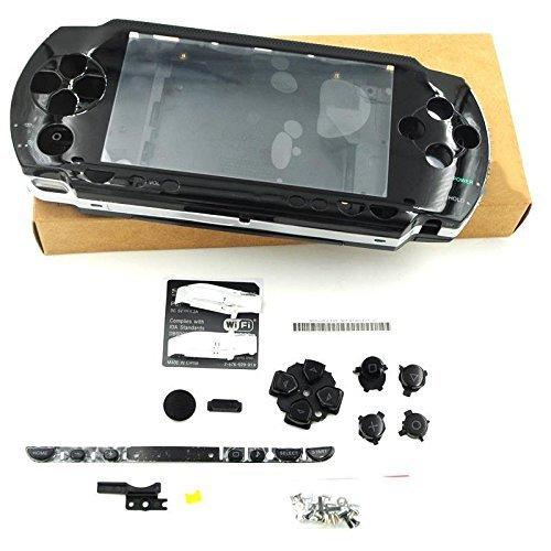 Carcasa carcasa carcasa con destornilladores para Sony PSP 1000 1001 1002 1003 1004 Fat Phat PSP (negro)
