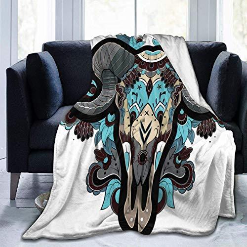 Cool Ram Head Skull Blanket Premium Microfiber Fleece Blanket Super Soft Cozy Bed Blanket Sofá cálido Manta Decorativa