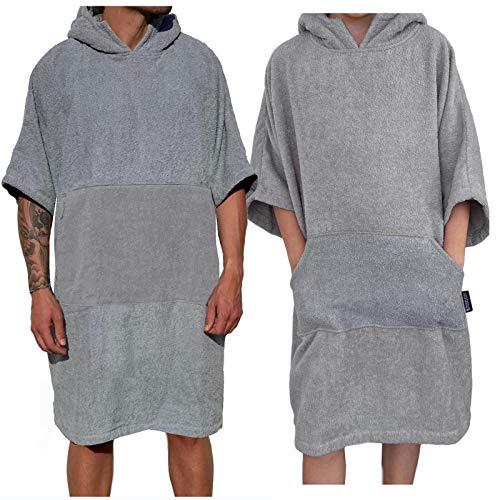 Homelevel Damen und Herren Surfponcho 100% Baumwolle Strandponcho Poncho Badeponcho Strandtuch Handtuch Cape Frottee Badetuch mit Kapuze Hellgrau S/M