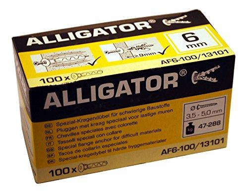 100 TOGGLER Alligator Kragendübel AF6 für massive Wände