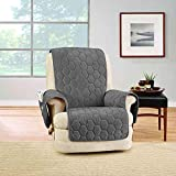 SURE FIT Silky Touch Recliner Protector in Dark Grey