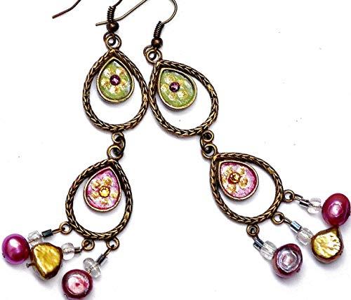 Boho Chandelier Dangle Earrings with Swarovski Crystal Rhinestones and Pearls Bohemian Jewelry for Women
