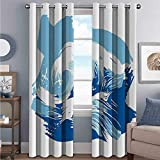 Toopeek Ocean Shading Insulated Curtain Sealife Beach Themed Surfing Miami Waves Sea Marine Life Image Art Print for Living Room or Bedroom W52 x L63 Inch Blue Light Blue White