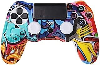 ReTrack Multicolor Style Silicone Gamepad Cover Case + 2 Joystick Cap for PS4 Controller (Multicolor 2)
