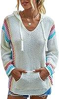 Spec4Y Hoodie Damen Langarm V-Ausschnitt Kordelzug Kapuzenpullover Gestreift Farbblock Lässige Pullover Sweatshirts mit...