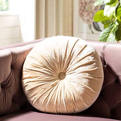 Safavieh Home Caramia Cream Round Button Tufted Decorative Pillow Pillow