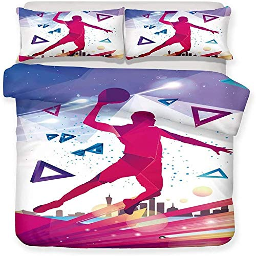 BH-JJSMGS Bedding duvet cover, cool sports basketball pattern, polyester microfiber soft zippers easy to manage single double extra large bed linen hand dunk Double-200x200cm