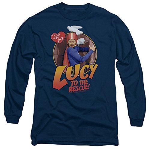 I Love Lucy - Hommes au T-shirt manches longues de sauvetage, Large, Navy