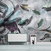 カスタム任意のサイズの壁画壁紙ノルディックモダンシンプルなレトロカラーフェザー水彩壁画リビングルーム寝室アートフレスコ画, 300cm×210cm