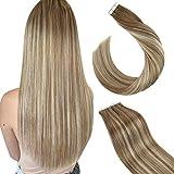 Ugeat Extensiones Remy Natural Adesivas 14 Pulgada Tape Hair Extensions 20pcs 50g Extensiones Balayage Adhesivas Pelo Natural #9A/60/9A Marrón con Rubio Platino