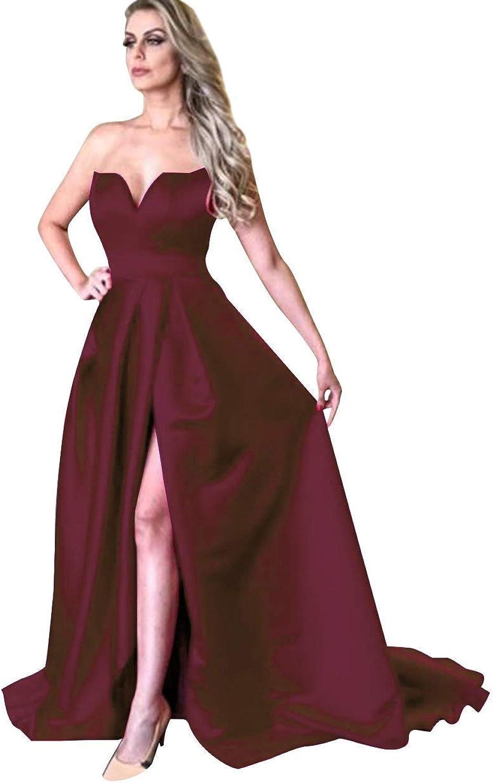 Sophie Womens Sweetheart ALine Satin Prom Dress Split 2018 Long Evening Formal Gown for Women S130