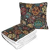 Manta de almohada de terciopelo suave 2 en 1 con bolsa suave, funda de almohada de cráneos de azúcar mexicanos para casa, avión, coche, viajes, películas