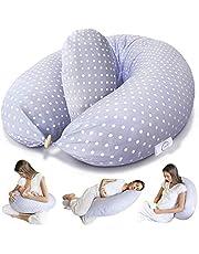 Bamibi® Poduszka ciążowa i poduszka do karmienia - wielofunkcyjna poduszka wspierająca całe ciało ciążowa do spania i karmienia piersią dziecko ze zdejmowaną 100% bawełnianą poszewką plus poduszka wewnętrzna