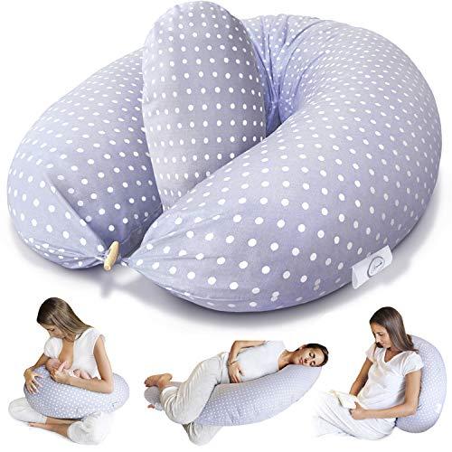 Bamibi ® Cuscino Allattamento + Cuscino Interno Multifunzionale e Cuscino Gravidanza per Dormire in Posizione Laterale, Federa 100% Cotone (Punti)