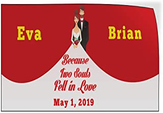 Custom Door Decals Vinyl Stickers Multiple Sizes 2 Souls Fell in Love Bride Groom Date Lifestyle Wedding Outdoor Luggage /& Bumper Stickers for Cars Red 34X22Inches Set of 10
