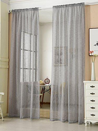 WOLTU® VH5856dgr, Gardinen transparent mit Kräuselband Leinen Optik, Vorhang Stores Voile Fensterschal Dekoschal für Wohnzimmer Kinderzimmer Schlafzimmer, 140x175 cm, Grau, (1 Stück)