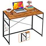 """Mr IRONSTONE 31"""" Folding Computer Desk, Small Writing Desk Easy Assembly with 10 Hooks, Foldable Metal Frame, Writing Workstation Laptop Table for Home Office (Vintage)"""