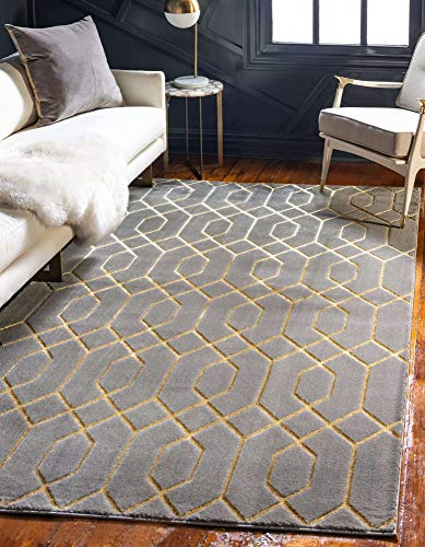 Unique Loom Marilyn Monroe Glam Collection Textured Geometric Trellis Area Rug, 8' 0 x 10' 0 Rectangle, Gray/Gold