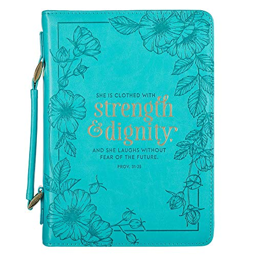 Teal Floral Fashion Bible Cover for Women She is Clothed Strength Dignity Proverbs 31 Woman Bible Case/Book Cover, Faux Leather, Medium