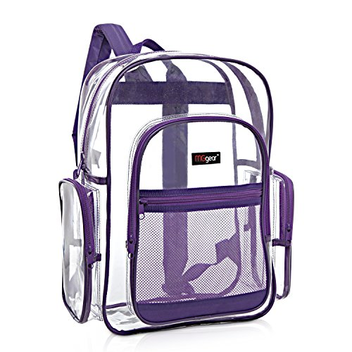 MGgear Clear Transparent PVC School Backpack/ Outdoor Backpack with Purple Trim