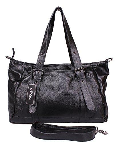 Iblue Genuine Leather Large Handbag Travel Tote Shoulder Bag Weekend Bag Black 68157