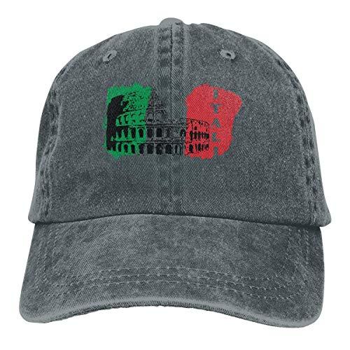 Gorra de béisbol para hombres y mujeres, Coliseo Romano de Italia con bandera italiana para mujer de algodón ajustable