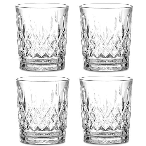 Amisglass Whisky Gläser 4er Set, Bleifrei Kristallgläser als Wassergläser & Longdrinkgläser, Gin Gläser Set 295ml, Hochwertig & Einzigartig