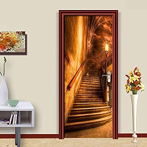 Türaufkleber Wandbild PVC Selbstklebende Türaufkleber Golden Corridor Staircase Photo Wallpaper Wandbild für Wohnzimmer Tür Wohnkultur Papel De Parede