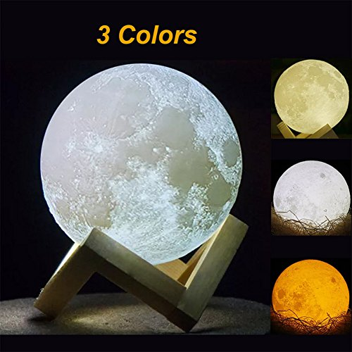 3D Print maanlamp, 15 cm, oplaadbaar maanvlakpatroon, led maan met USB-oplading en 3 kleuren veranderen, lamp maan voor kinderen, verjaardagscadeaus en vrienden, kerstcadeau