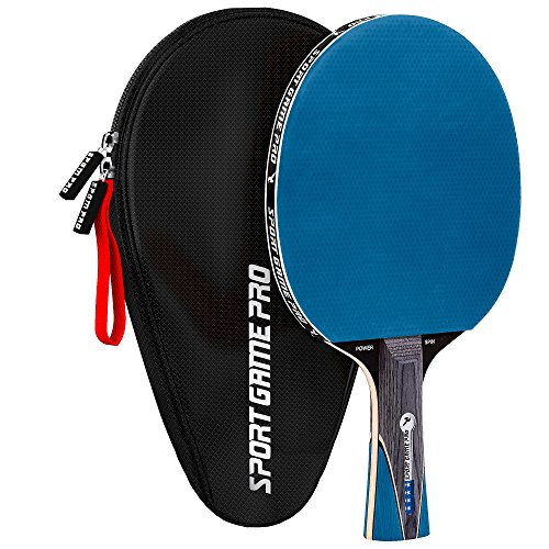 Ping Pong Paddle with Killer Spin + Case for Free - Professional Table Tennis Racket for Beginner and Advanced Players - Improve Your Ping Pong Skills with JT Ping Pong Paddle Set (Blue)