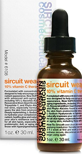 Sircuit Skin SIRCUIT WEAPON+ 10% Vitamin C Therapy Serum - Hydrating Facial Serum with Witch Hazel, Wine Extract, and Resveratrol - Daily Face Serum Supports Hydration (1 oz)