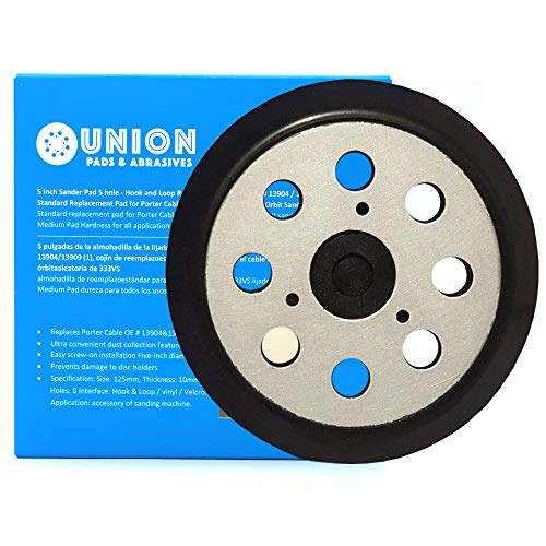 Union Pads & Abrasives OEM1 5 Inch 8 Hole Replacement Sander Hook and Loop Orbital Sander Pad for DeWalt 151281-08, DW4388 Fits DeWalt DW421, DW423, D26453, D26451, DW422, Porter Cable 390K 382 343/VS